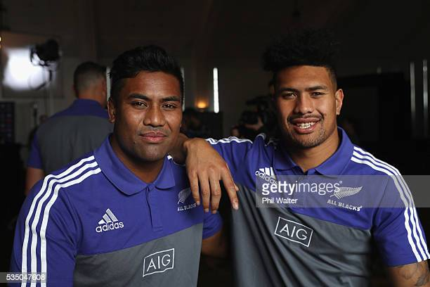 Brothers Julian Savea and Ardie Savea during the New Zealand All Blacks squad announcement at The Heritage Hotel on May 29 2016 in Auckland New...
