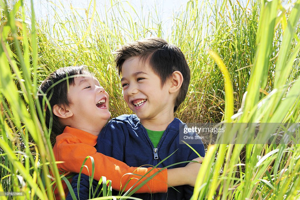 Brothers laughing in the grass : Foto de stock