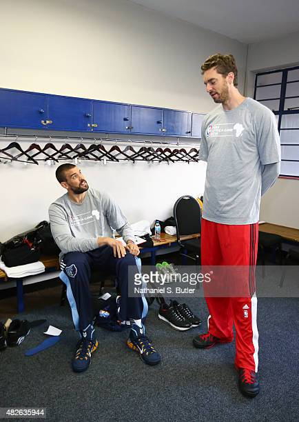 Brothers Marc Gasol and Pau Gasol of Team World prior to the NBA Africa Game 2015 as part of Basketball Without Borders on August 1, 2015 at the...