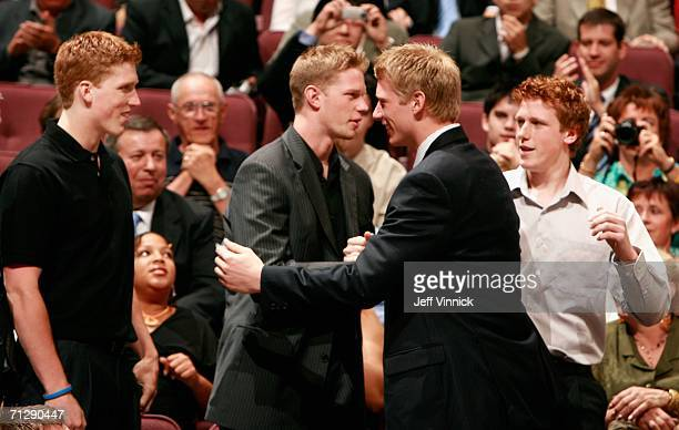 Brothers Marc Staal of the New York Rangers Eric Staal of the Carolina Hurricanes 2nd overall pick Jordan Staal of the Pittsburgh Penguins and Jared...