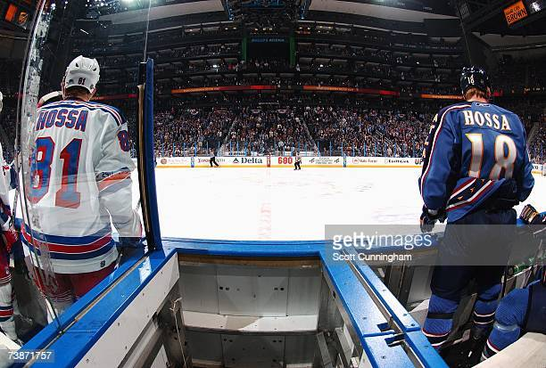 Brothers Marcel Hossa of the New York Rangers and Marian Hossa of the Atlanta Thrashers get ready to take the ice during game one of the 2007 Eastern...