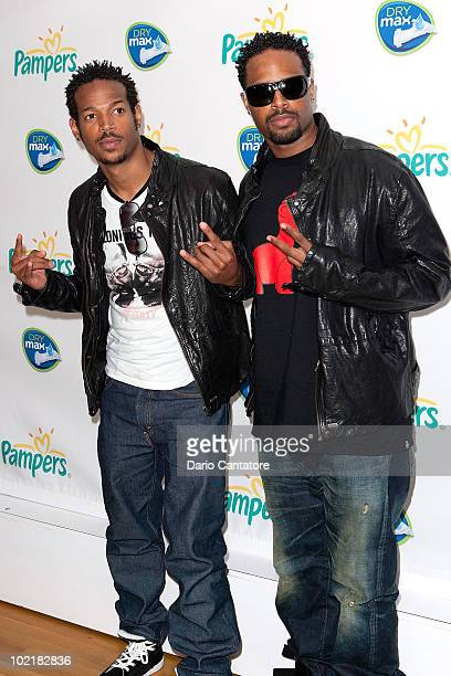 Brothers Marlon Wayans and Shawn Wayans attend Pampers' Daddy Play Date Fathers Day celebration at the Metropolitan Pavilion on June 17 2010 in New...