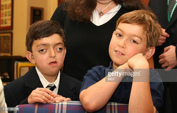 WASHINGTON DC Brothers Michael left and Joshua Weiner meet with Rep Anna Eshoo in her office on Capitol Hill on Wednesday June 23 2005 The boys are...
