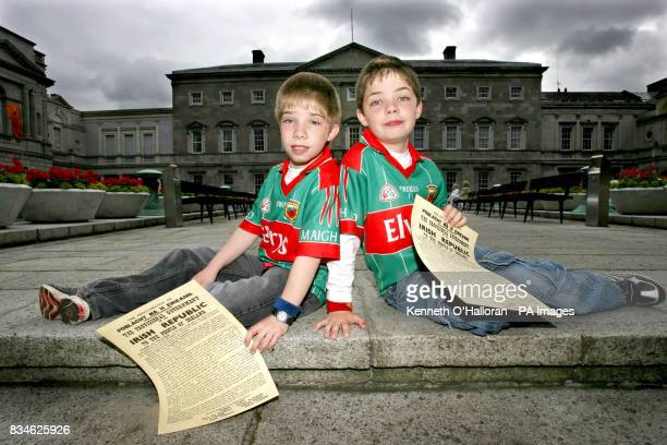 Brothers Michael Walsh and James Walsh from Ballina County Mayo enjoy the inaugural Oireachtas Family Day today at Leinster House Dublin