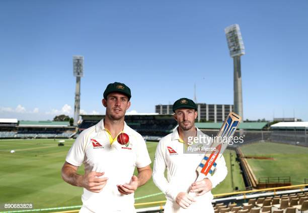 Brothers Mitch Marsh and Shaun Marsh of Australia pose during a portrait session ahead of the Third Test in the 2017/18 Ashes Series at WACA on...