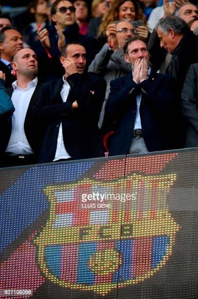 Brothers of former Spanish football player Enrique Castro 'Quini' attend the Spanish league football match FC Barcelona against Club Atletico de...