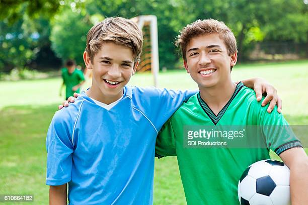 Brothers on opposing soccer teams before game