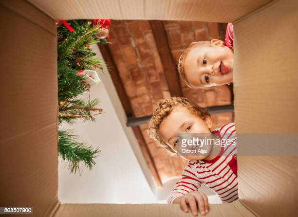 brothers opening christmas present - funny christmas stock photos and pictures