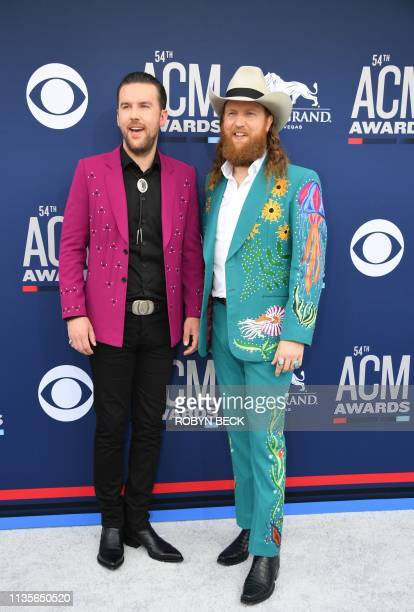Brothers Osborne arrive for the 54th Academy of Country Music Awards on April 7 2019 in Las Vegas Nevada