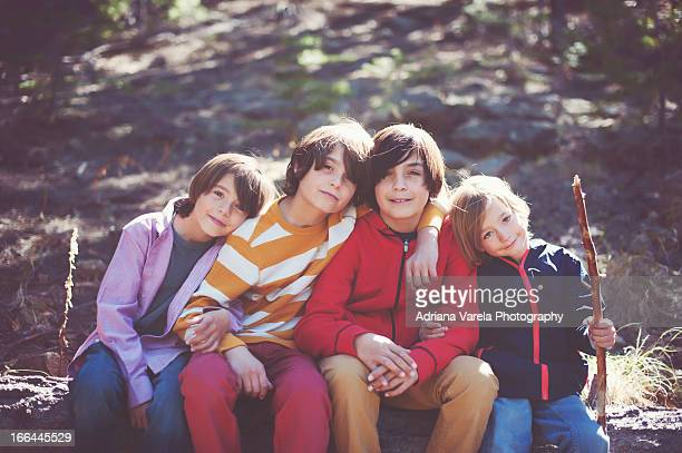 brothers outdoors - only boys stock photos and pictures