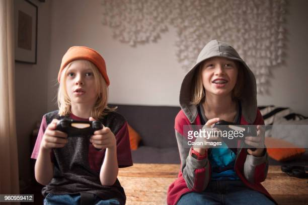 Brothers playing video game at home