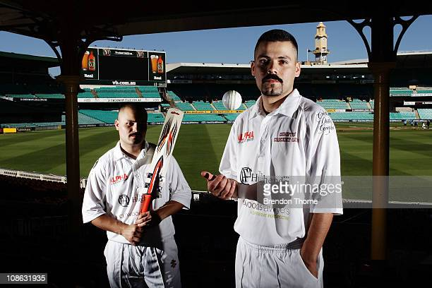 Brothers Ricardo and Emidio Cazarez of the Homies the POPz poses at the Sydney Cricket Ground on January 31 2011 in Sydney Australia The team...
