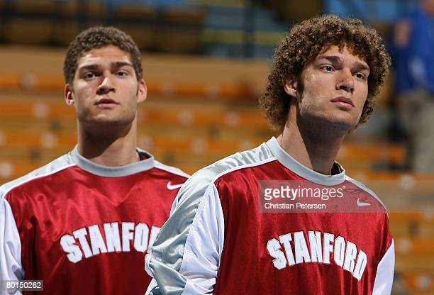 Brothers Robin Lopez and Brook Lopez of the Stanford Cardinal warm up before the college basketball game against the UCLA Bruins at Pauley Pavilion...