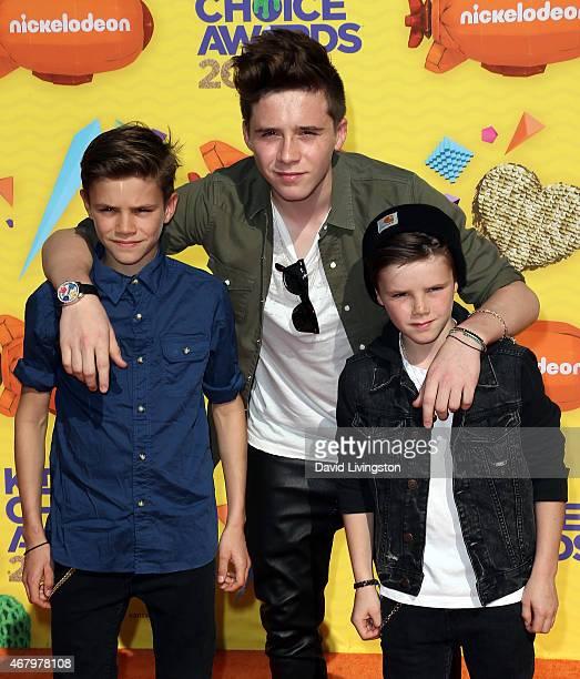 Brothers Romeo James Beckham Brooklyn Joseph Beckham and Cruz David Beckham attend Nickelodeon's 28th Annual Kids' Choice Awards at The Forum on...