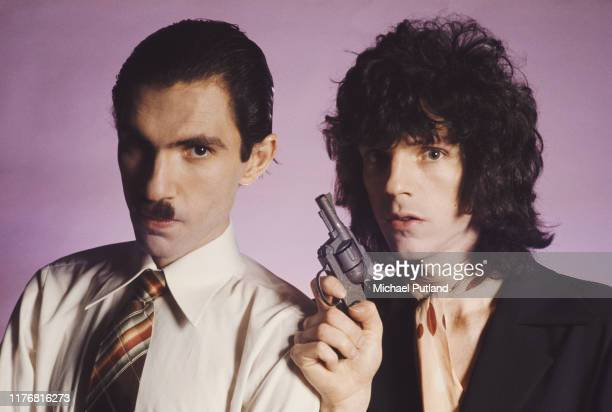 Brothers Ron and Russell Mael of American art rock group Sparks, posed together in London, March 1975.