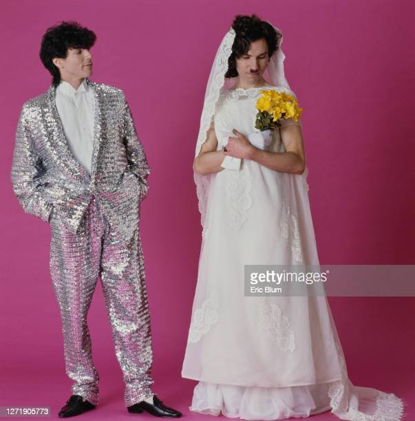 Brothers Russell and Ron Mael of American rock group, Sparks, dressed as a bride and groom, 1982. The portrait is from the shoot for the cover of...