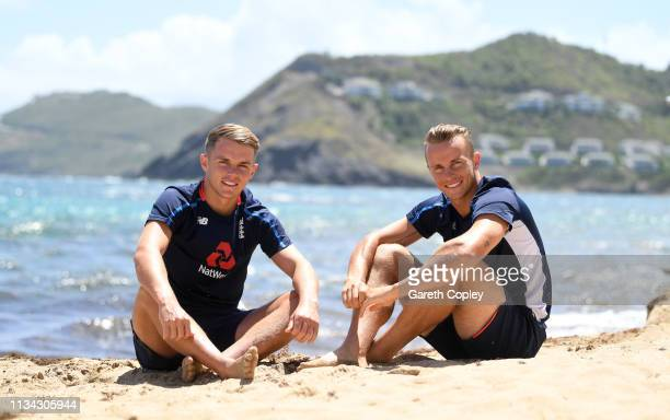Brothers Sam and Tom Curran pose for a portrait on the beach on March 07 2019 in Basseterre St Kitts Saint Kitts And Nevis
