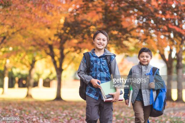 Brothers waking to school