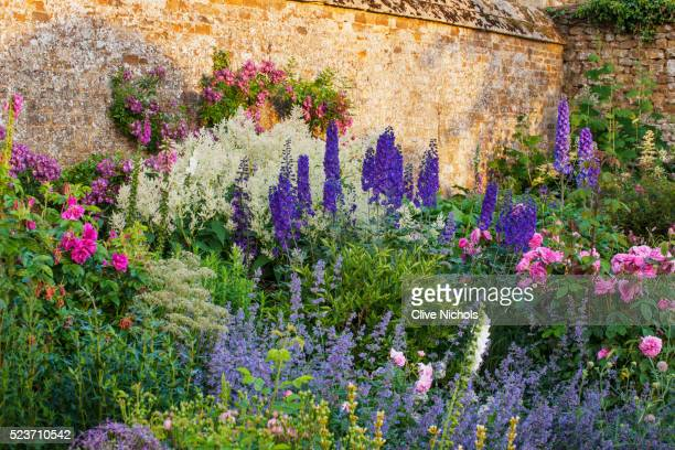 Broughton Castle, Oxfordshire: Border in The Walled Garden with Roses, Delphiniums, and Nepeta. Flow