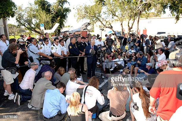 Broward County Chief Medical Examiner Dr Joshua Perper and Seminole Police Chief Charlie Tiger address the media at a press conference outside the...