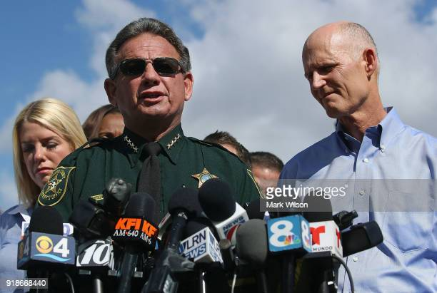 Broward County Sheriff Scott Israel Florida Governor Rick Scottand Florida Attorney General Pam Bondi speak to the media about the mass shooting at...