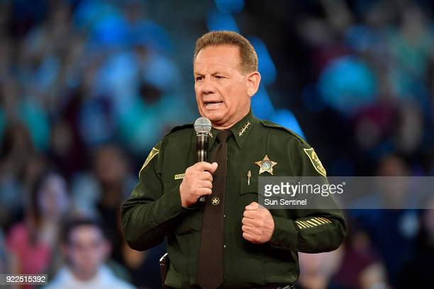 Broward County Sheriff Scott Israel speaks before the start of a CNN town hall meeting on Wednesday Feb 21 at the BBT Center in Sunrise Fla