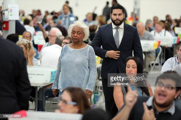 Broward County Supervisor of Elections Brenda Snipes walks the aisles as hand counting begins in the senate race at the Broward County Supervisor of...