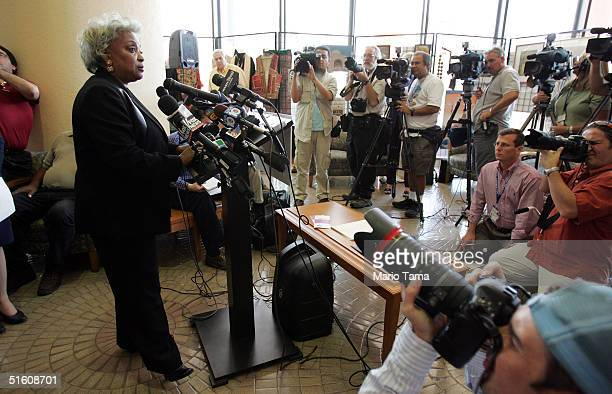 Broward County Supervisor of Elections Dr. Brenda C. Snipes speaks to the media about a plan to mail replacement ballots to voters October 28, 2004...