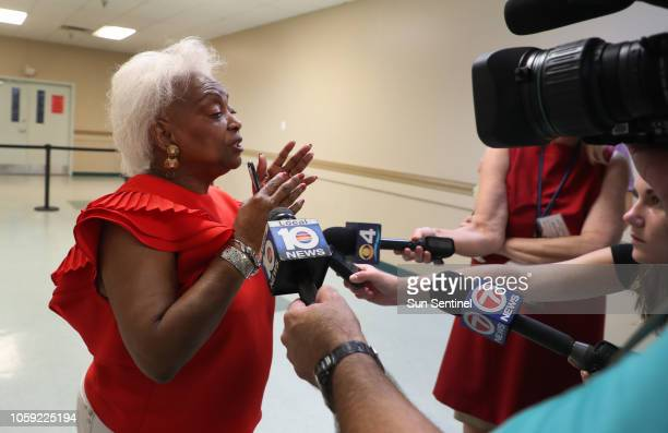 Broward County Supervisor of Elections Dr. Brenda Snipes, answers reporter's questions about a possible recount from the Midterm election Thursday,...