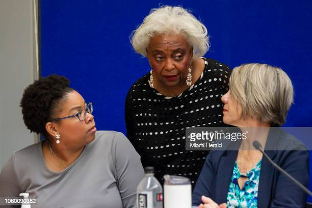 Broward Elections Supervisor Brenda C. Snipes, middle, at her offices in Lauderhill, Fla., as the canvassing board reviews ballots on Saturday, Nov....