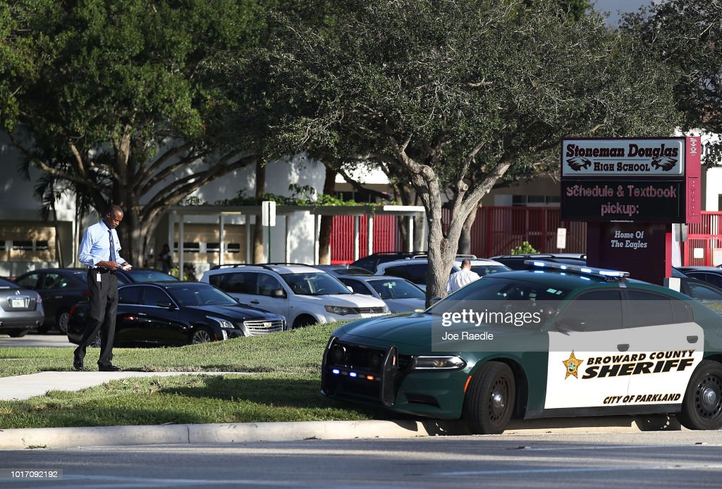 First Day Of School For Students At Marjory Stoneman Douglas High School, Scene Of February Mass Shooting That Killed 17 : News Photo