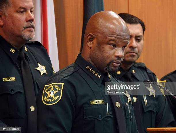 Broward Sheriff Gregory Tony announces the firing of two deputies following the agency's internal affairs investigation into the mass shooting at...
