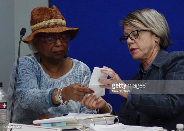 Broward Supervisor of Elections Brenda Snipes, left, and judge Betsy Benson of the election canvassing board listen to arguments on Sunday, Nov. 11...