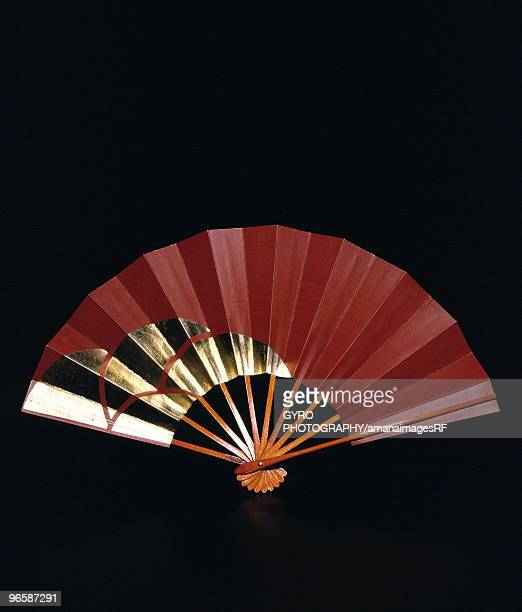 Brown and gold Japanese fan