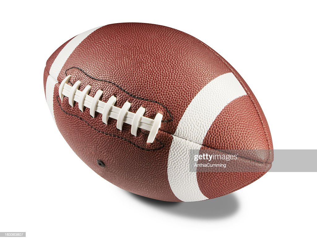 Brown and white American football on white background : Stockfoto