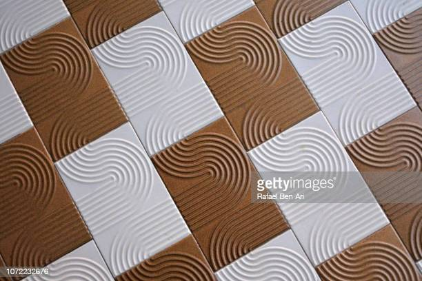 Brown and White Tiles Background