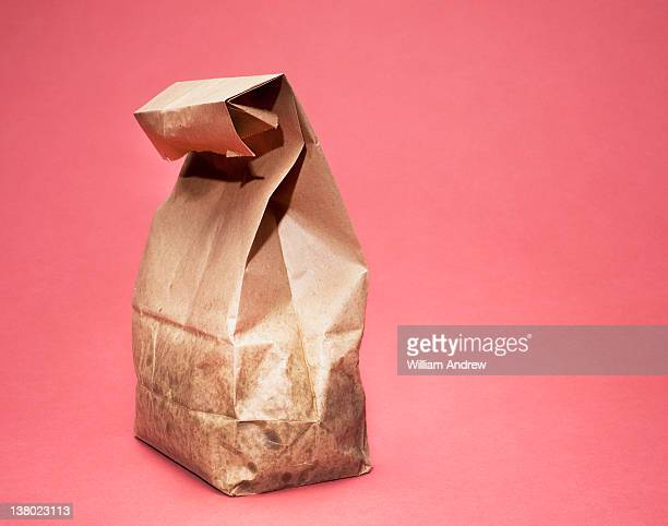 Brown bag lunch with greasy bag