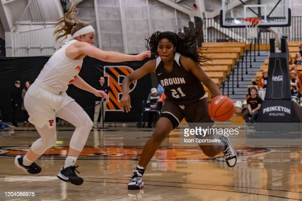 Brown Bears guard Sydney Rosant handles the ball during the first half of the Ivy League college basketball game between the Brown Bears and...