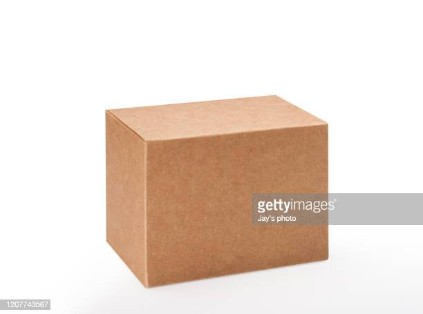 brown box on white background with clipping path - carton stock pictures, royalty-free photos & images