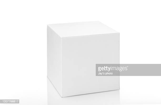 brown box on white background with clipping path - bianco foto e immagini stock