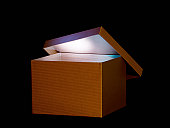 Brown box with soft glowing light inside