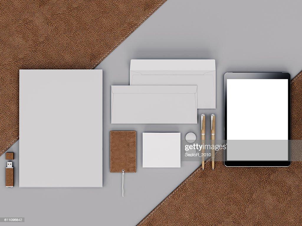 Brown Branding Mockup Template Set On Black Background