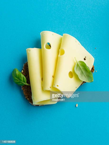 brown bread with cheese and basil leaf on blue background - cheese stock pictures, royalty-free photos & images