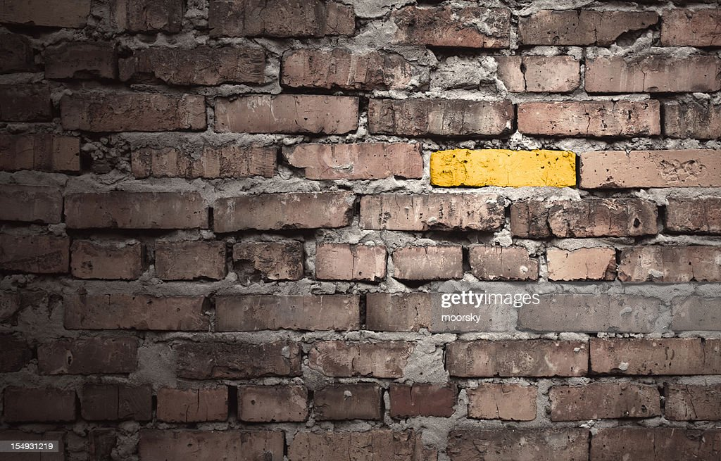 Brown brick wall with one gold brick : Stock Photo
