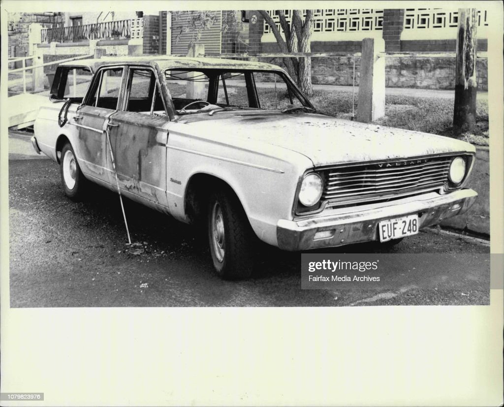 A brown burnt out Valiant station wagon pictured in Thornley