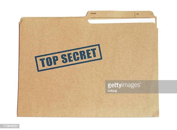brown card folder with top secret stamped on it in blue - file stock pictures, royalty-free photos & images