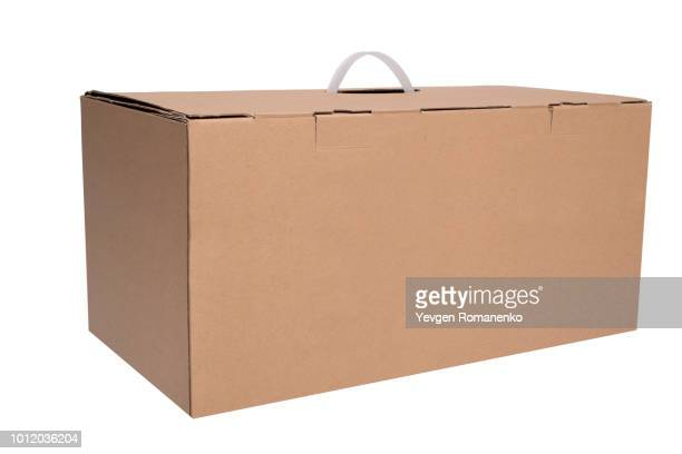 brown cardboard box on white background - carton stock photos and pictures