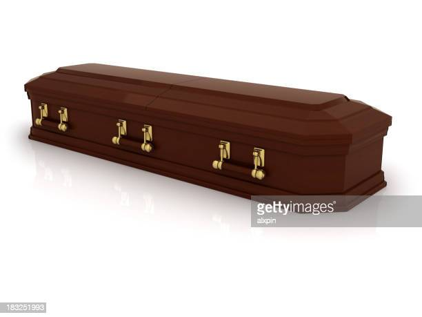 A brown casket on a white background