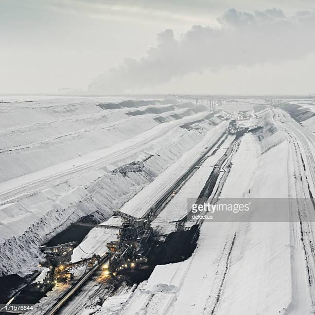 Brown coal mining im winter