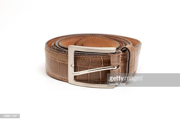 Brown crocodile leather belt